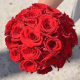 Fleuriste mariage Bordeaux Bouquet de mariée roses rouges Réalisation Carré Roses Artisan Fleuriste Bordeaux Bègles Floirac