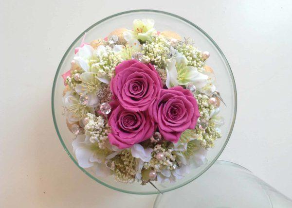 fleur-stabilisee-carre-roses-bordeaux-rose-eternelle