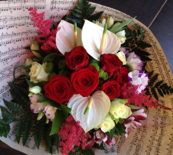 bouquet rond rouge