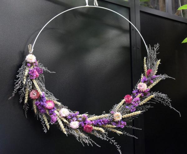 couronne séchée violette