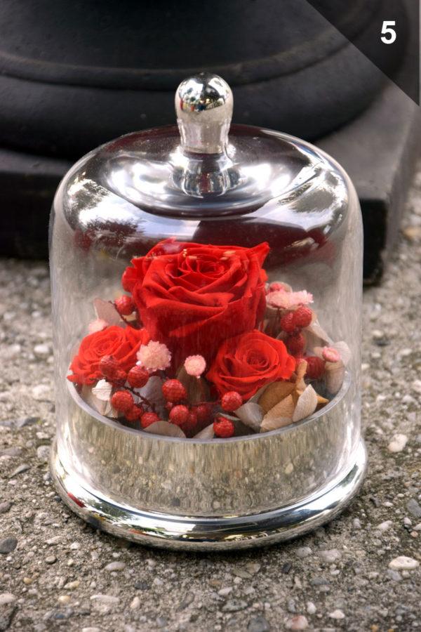 cloche rose éternelle rouge argent