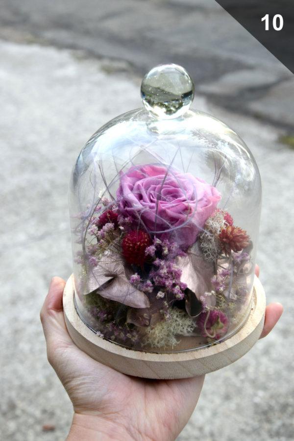 cloche rose éternelle lilas fleuriste