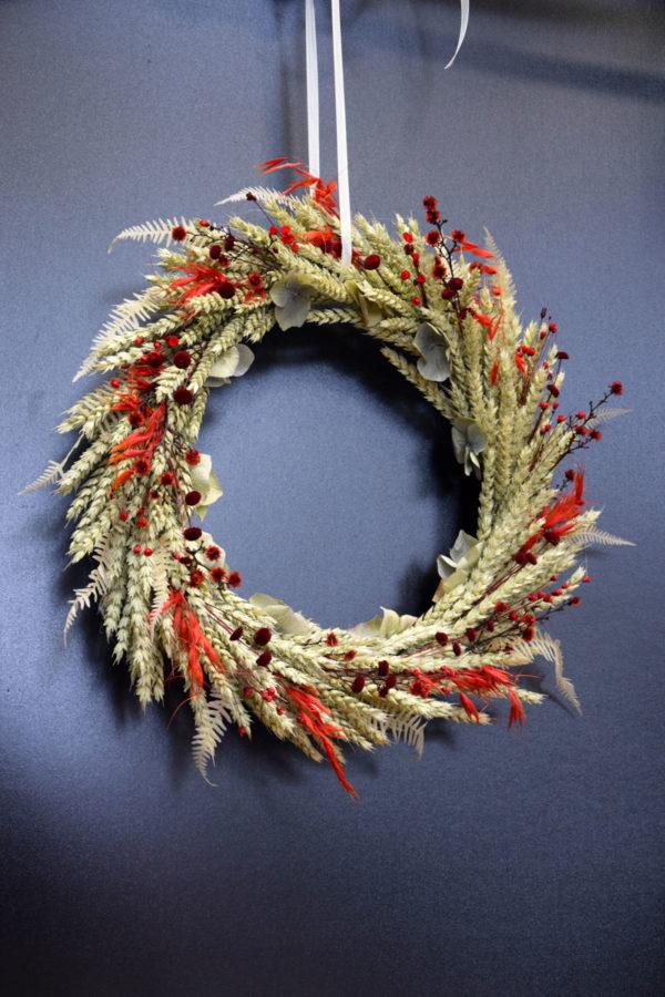 couronne épi fleuriste rouge