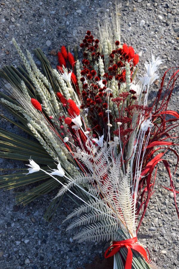 bouquet fleurs séchées pampa rouge