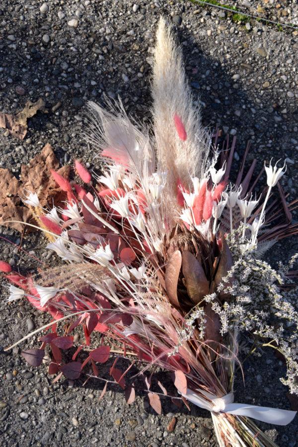 bouquet fleurs séchées pampa rose